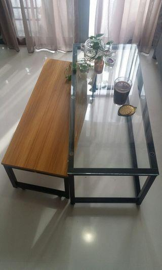 Coffee Table, Glass and wooden optic