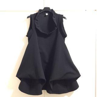 黑色  立領 花苞 傘狀  無袖 洋裝 娃娃裝 少女 上班族 適S-M