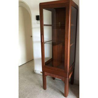 Vintage Art Deco Burmese Teak Wood Display Cabinet