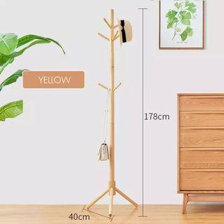 Norzy Floor Stand Pole Hat Coat Hanger Bedroom Hall Entry Clothes Laundry Drying Rack ( Light Yellow )
