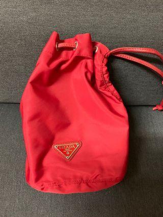 100%real Prada 索繩袋 red