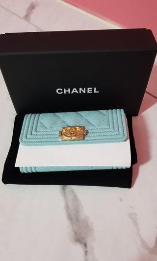 Brand new Chanel 19C tiffany blue flap card holder wallet