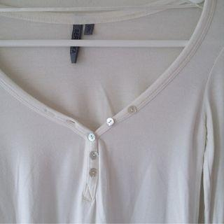 Bershka Henley Top - Cream