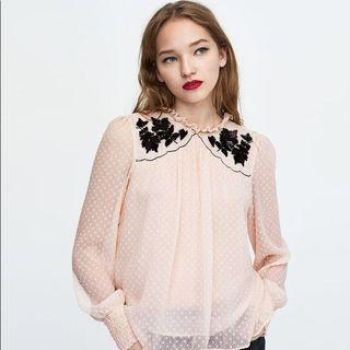 Zara Embroidered Embellished Dotted Mesh Top