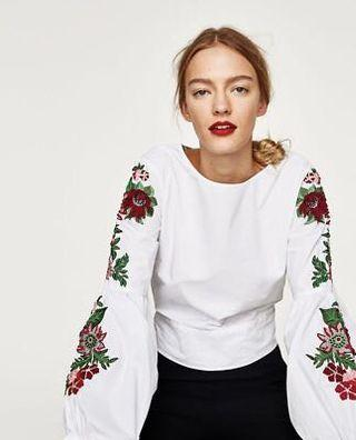 BNWT Zara Embroidered Top