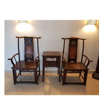 Solid Hard Wood Antique Chairs (1 pair + centerpiece coffee table)