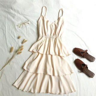 (全新) 杏色雪紡層層蛋糕裙