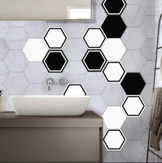 Hexagon 3D PVC sticker tiles (10 pcs)