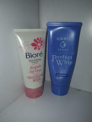 Senka Perfect Whip & Biore skin caring