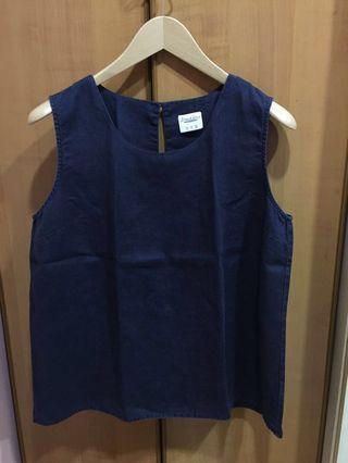 Island Shop Women's Navy Blue Sleeved Linen Top