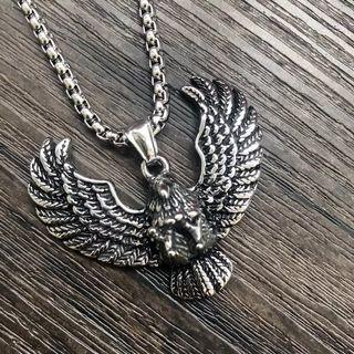 Unisex Titanium Steel Eagle Pendent And Necklace