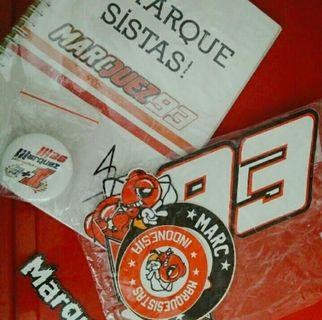 Marc Marquez notebook, pin dan sticker