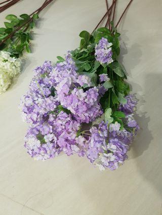 Artificial purple flowers