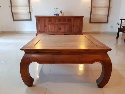 Large Balinese Square Coffee Table with Banana Legs