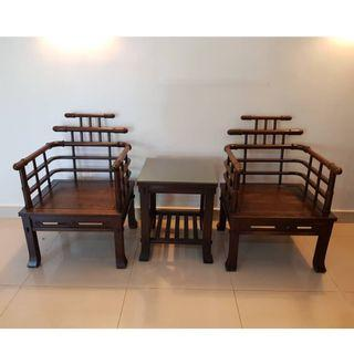 Rose wood antique furniture (1 pair + centerpiece coffee table)