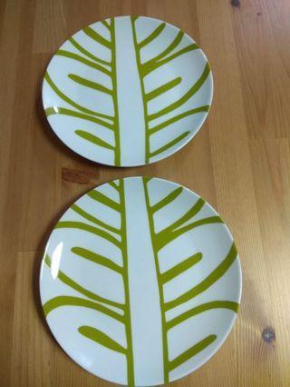 樹葉圖案圓碟2隻