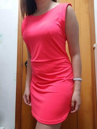 螢光 露背 連身裙