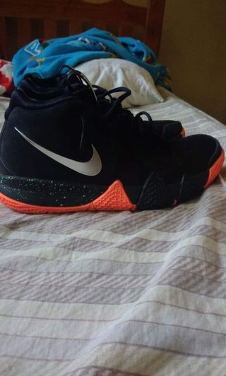 cfc786c492e4 Nike kyrie 4 black orange metallic silver