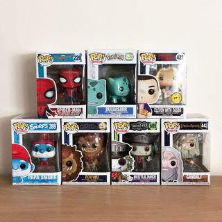 Funko Pop (Bulbasaur, Spiderman, Gandalf, Eleven Chase, Papa Smurf, Zouwu, Beetlejuice Guide)