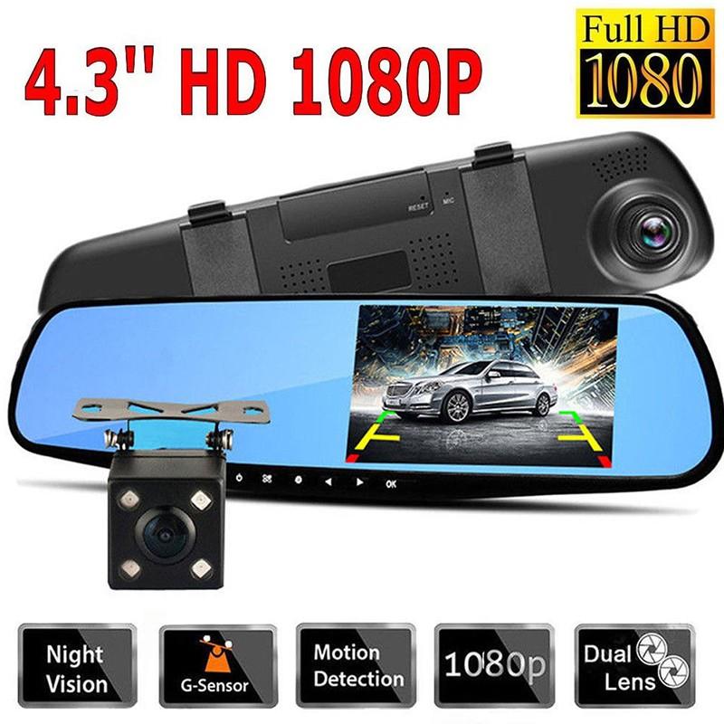 4.3'' 1080P Dual Lens Car Auto DVR Mirror Dash Cam Recorder Rear View Camera Kit (SKU): PEL_0472TK0P, Electronics, Others on Carousell