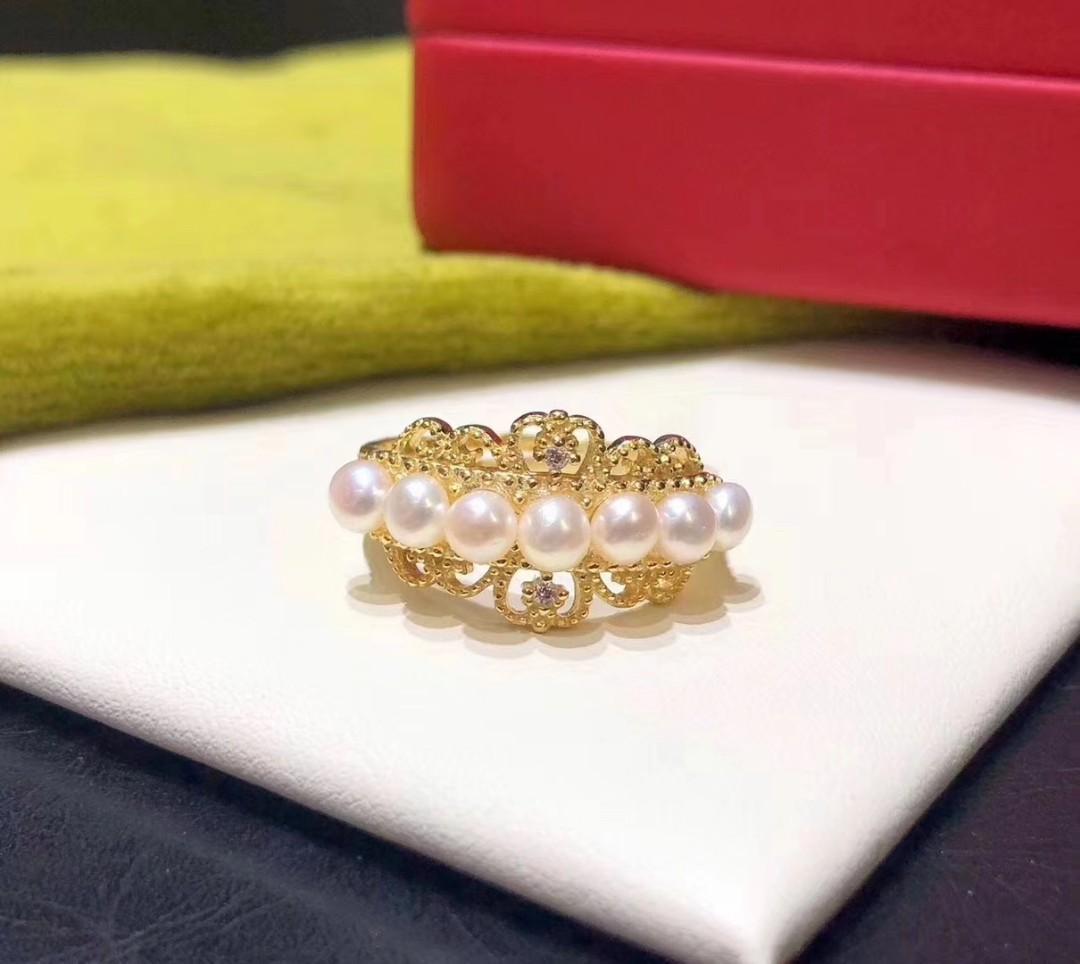 華麗純銀鍍金天然淡水珍珠戒指