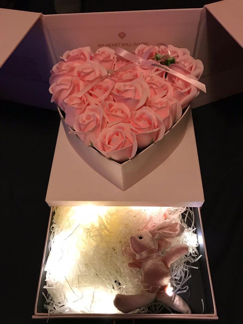 玫瑰花花立體禮物盒 (抽屜連燈)