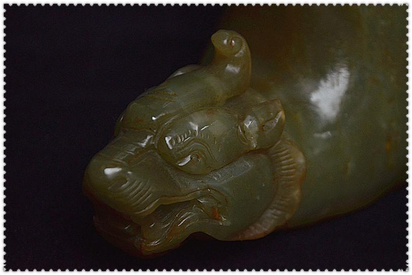 """入手值得 山西發掘品 土沁和田青玉雕 獸首手柄《匜》水器禮器""""沃盥之礼"""""""