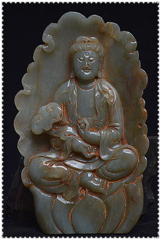 佛教古美術品 和田青白玉 巧匠手雕 清代 普賢菩薩像 有緣人請回