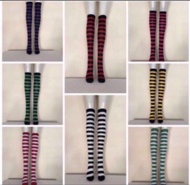 de897f8c6 PREMIO   Striped Knee High Socks Women Knit Cotton Thigh High Over ...