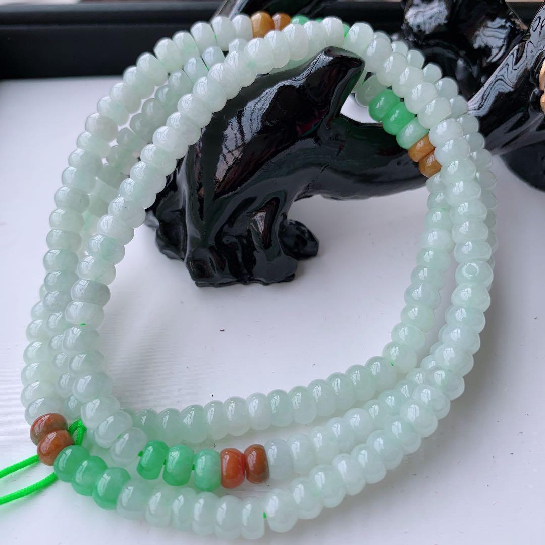 天然緬甸翡翠A貨玉三彩算盘珠项链