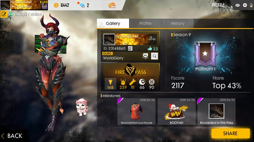 Account free fire