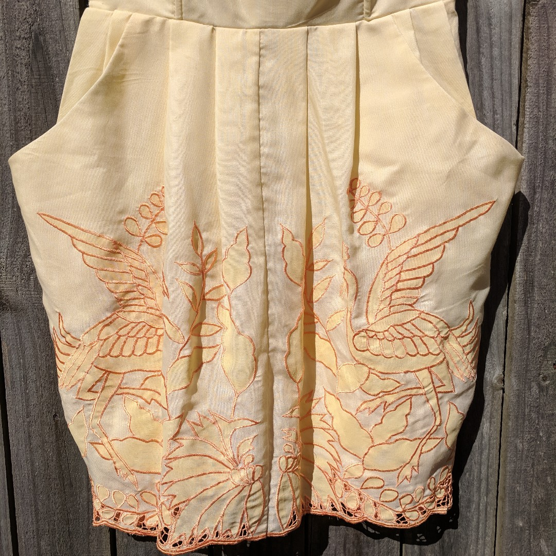 ALICE MCCALL Yellow Embroidered Bird Dress