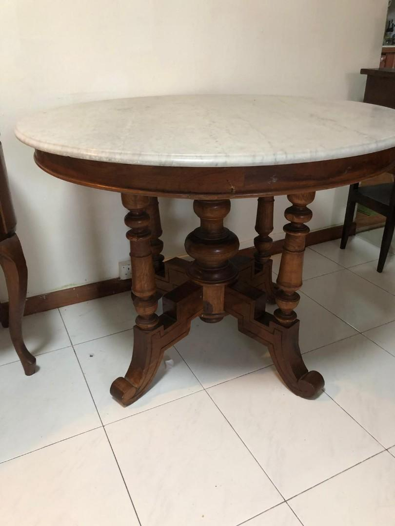 Antique Marble Top Teakwood Table Furniture Tables Chairs On Carousell