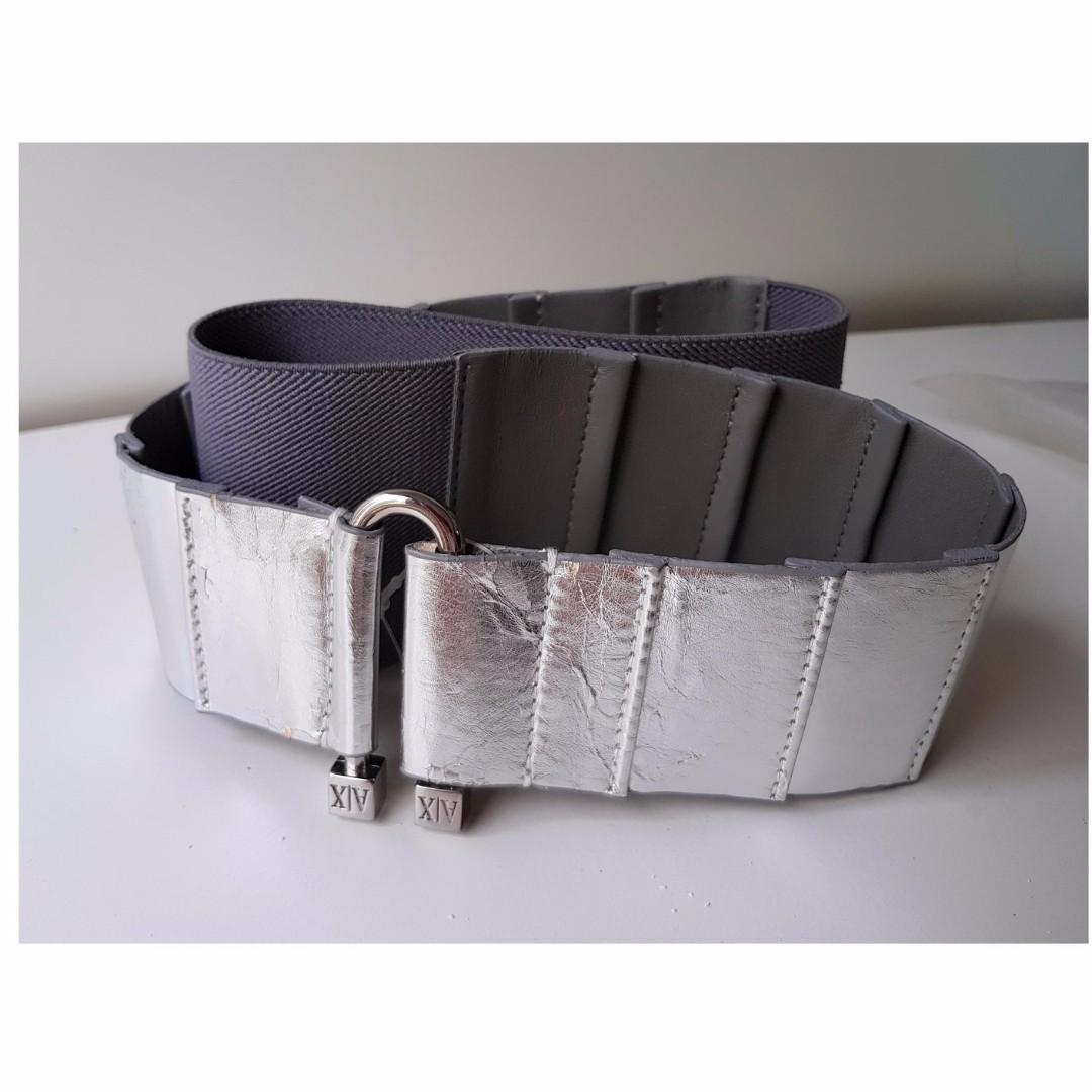 Armani Exchange  NEW WITH TAGS Gunmetal Gray  AX  Silver mirror finish Leather And Elastic ladies Womens Belt New