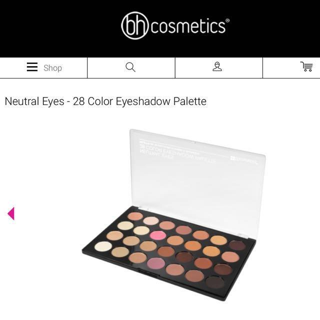 AUTHENTIC BH COSMETIC NEUTRAL 28 COLOUR EYESHADOW PALETTE