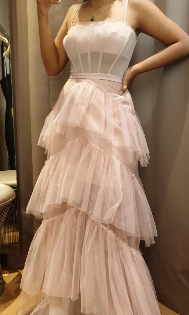 BCBGmaxzaria oly tiered-ruffle tule gown