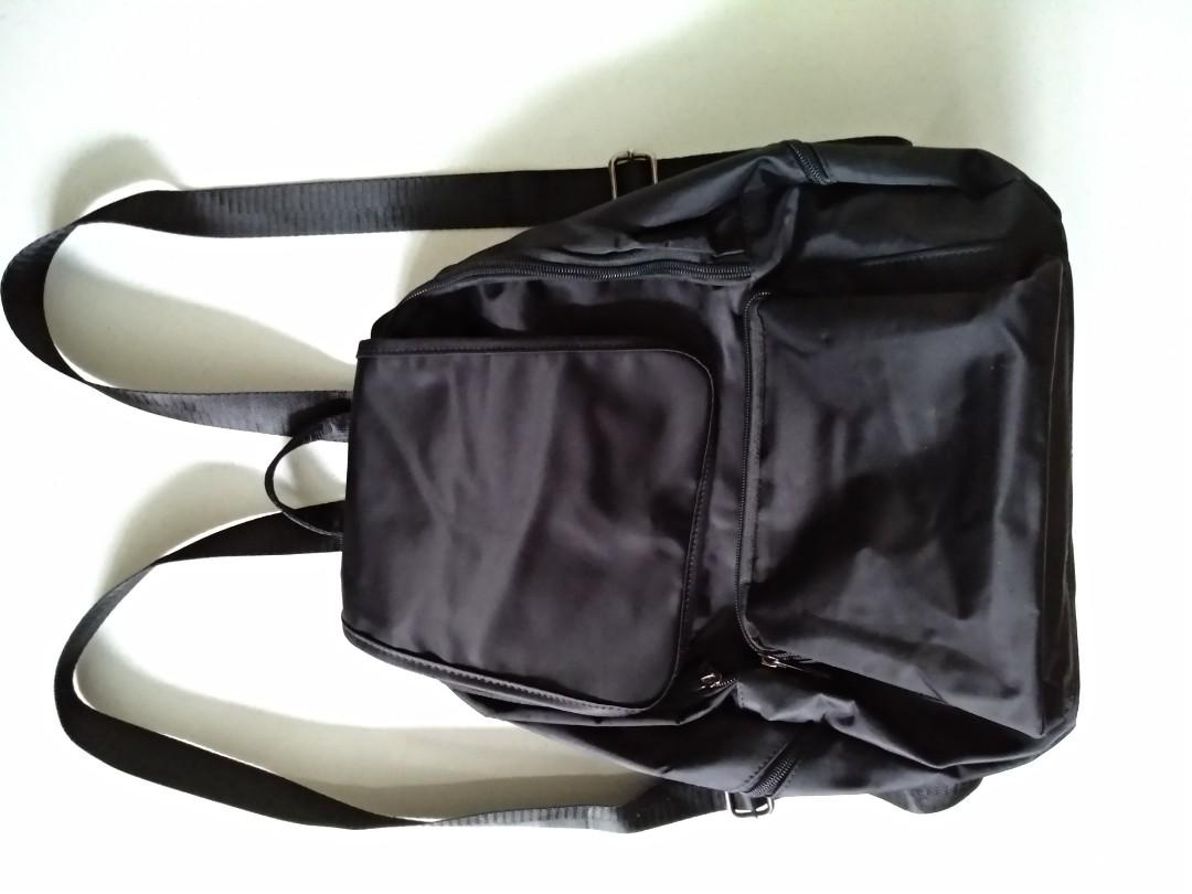 Black Nylon Water Resistant Backpack Multiple Pockets Fits A4 BN