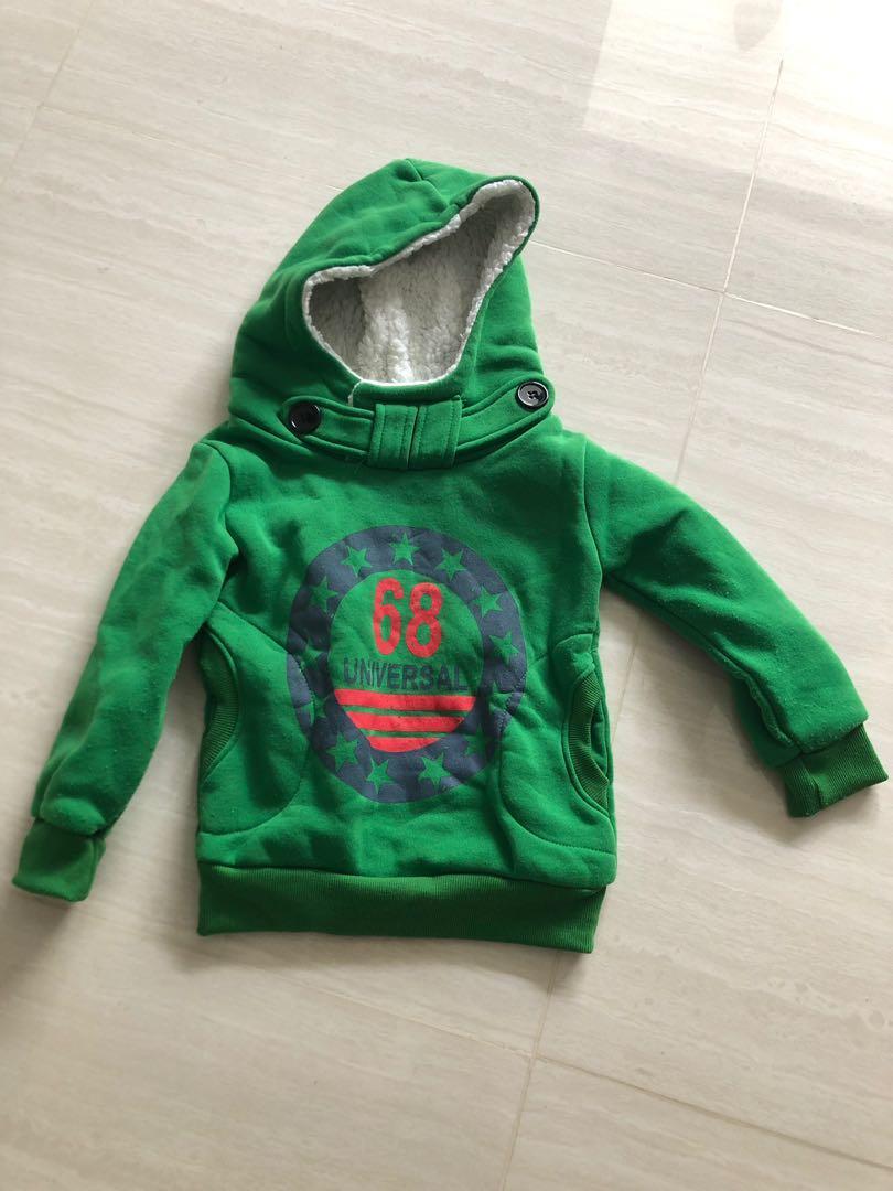 Boys Thicken Fleece Sweater Warm Fur Coat Pullover Tops Hoodie Jacket
