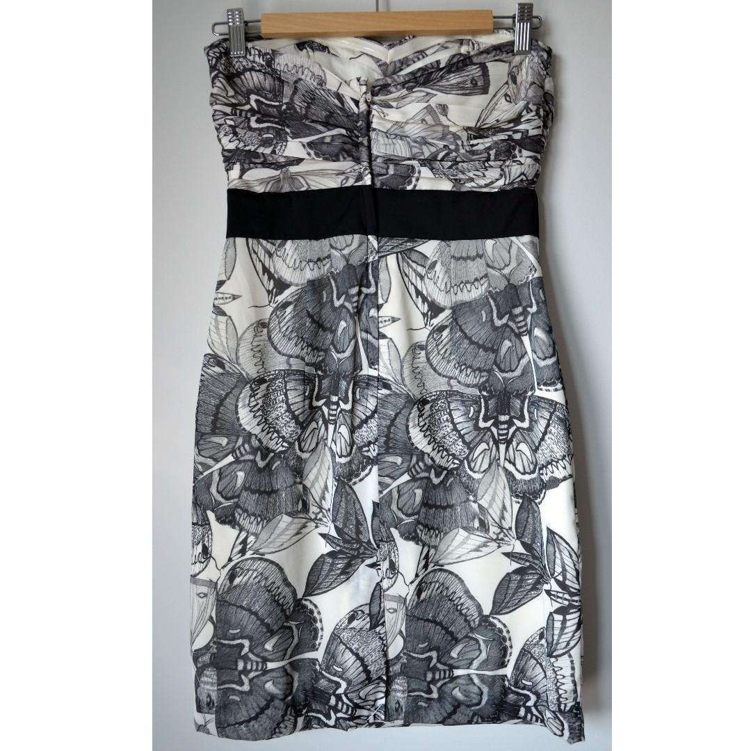 Brand new black & white butterfly print strapless dress from H&M
