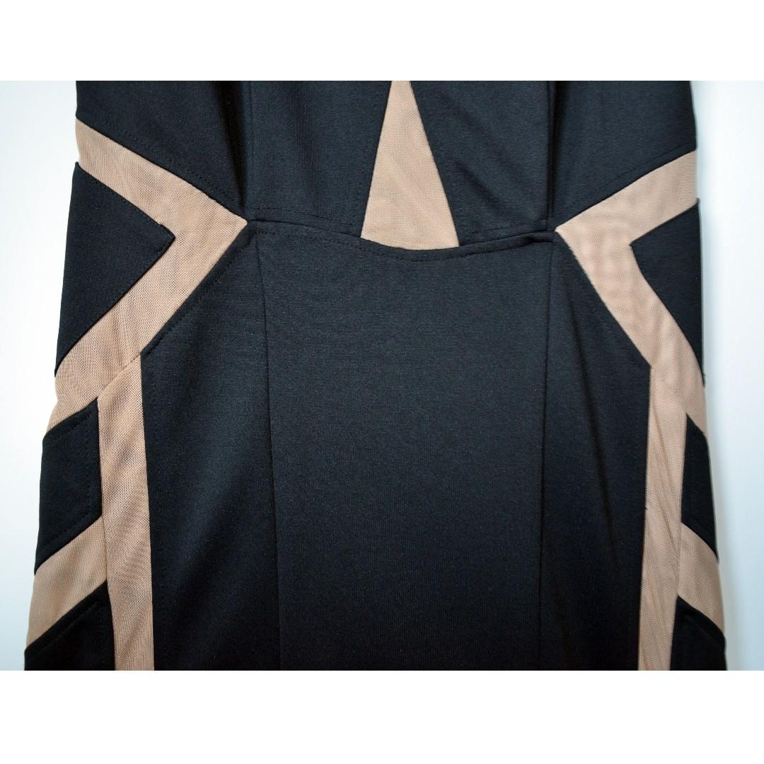 Brand new black party dress with beige cutouts from Mendocino