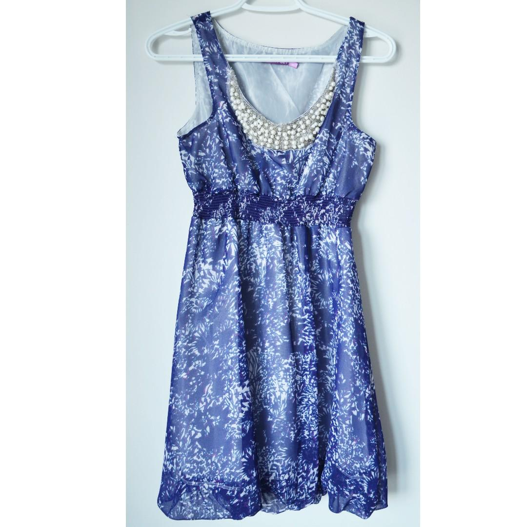 Brand new blue purple abstract chiffon dress with pearl neckline