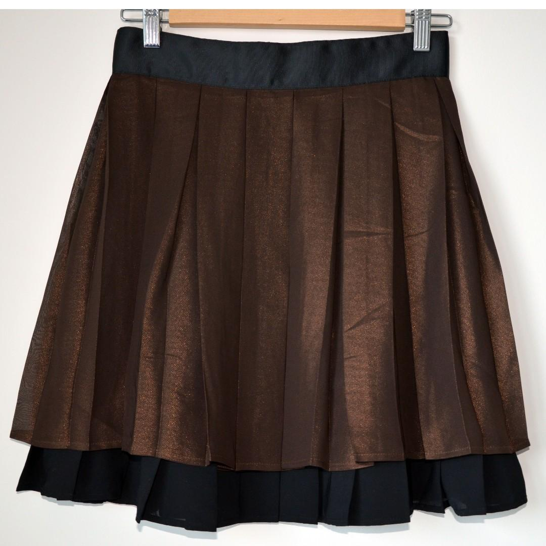 Brand new brown black layered pleated skirt from H&M