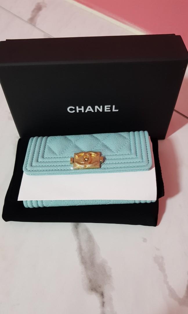 766355923a2f Brand new Chanel 19C tiffany blue flap card holder wallet, Luxury ...