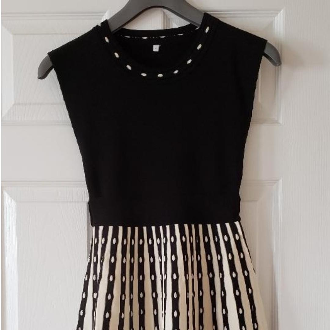 Brand New! Claudie Pierlot Two-Tone Knit Skater Dress