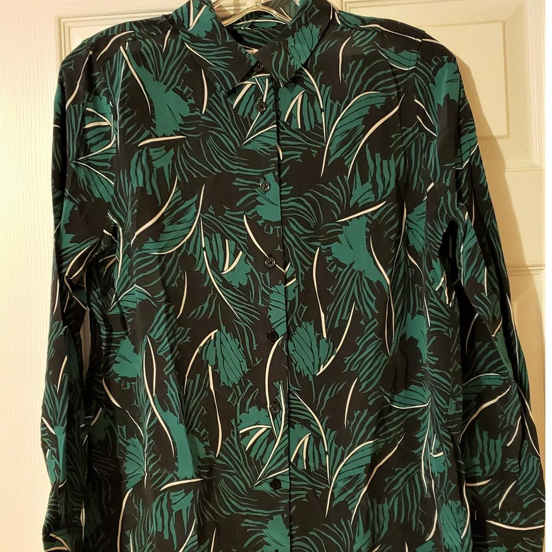 Brand New! Equipment Essential Palm Leaf-Print Silk Shirt Size