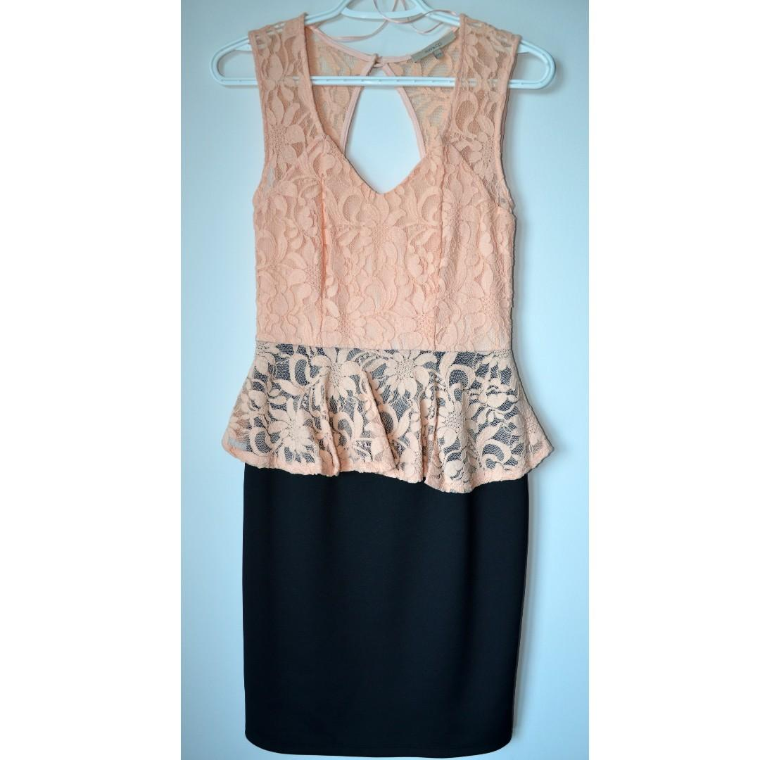 Brand new RW&Co beige lace peplum dress with black skirt