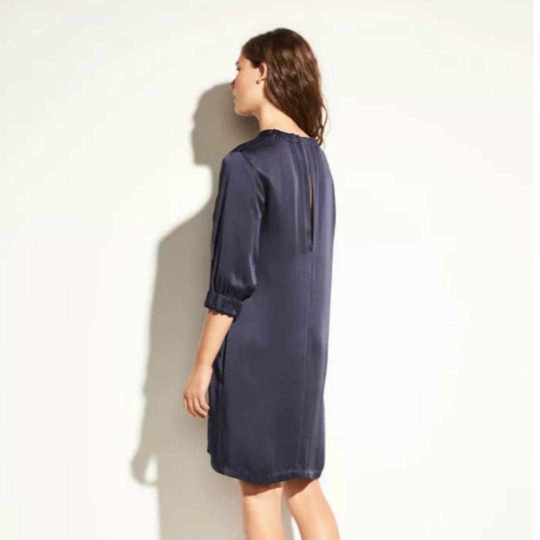 Brand New! Vince Crewneck 3/4 Sleeve Gathered Satin Shift Dress Size 0