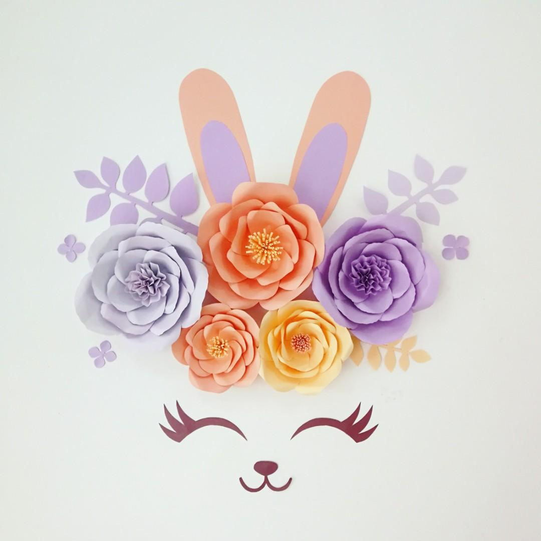 Bunny Paper Flowers Wall and Party Decor
