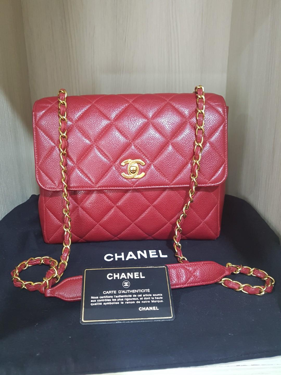 Chanel Vintage Dark Red Caviar Square Flap
