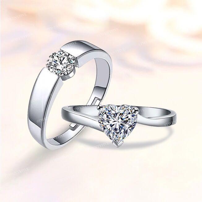 Couple Wedding love Diamond Adjustable Ring